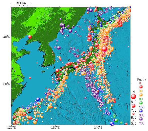 Japan meteorological agency earthquake distribution around japan 1960 2011 gumiabroncs