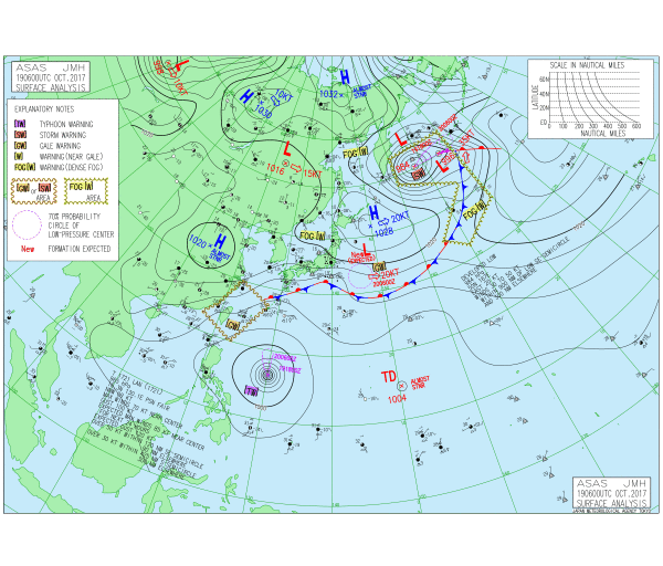 気象庁|アジア太平洋域 実況天気図の説明